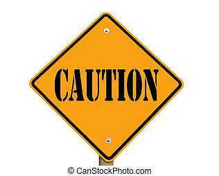 yellow caution sign isolated on white with clipping path at this size