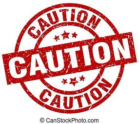 caution round red grunge stamp