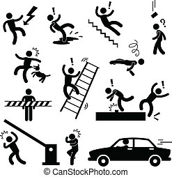 Caution Safety Danger Accident Sign - A set of pictogram...