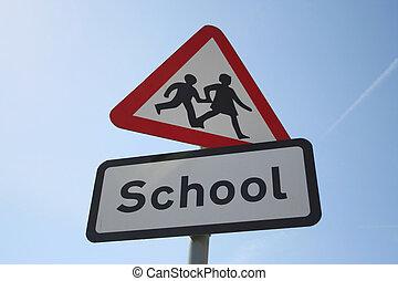 Caution school sign
