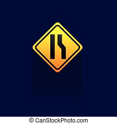 Caution Sign Road on blue background. vector. logo. icon. symbol. Traffic Signs