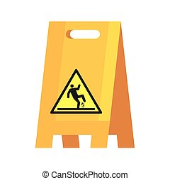 caution sign wet floor, on white background