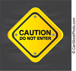 Caution signal - Caution over road signal over gray...