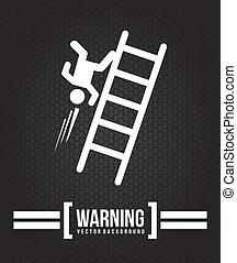caution signal over black  background vector illustration