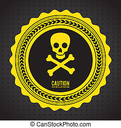 caution signal over black background vector illustration