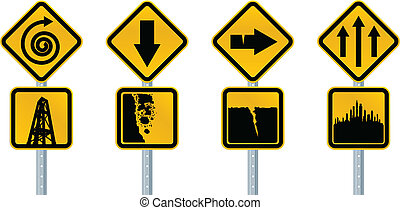 Caution Signs - A set of cartoon, caution road signs.