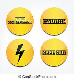 Caution signs - Caution under construction button
