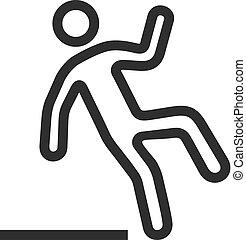 Caution slippery surface, falling man