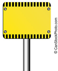 caution - Yellow caution signal over white background. Blank...