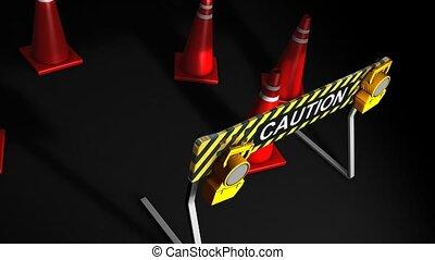 Caution - Construction caution sign.