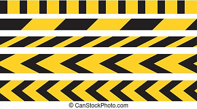 Caution tape border vector. Black and yellow stripes danger ...