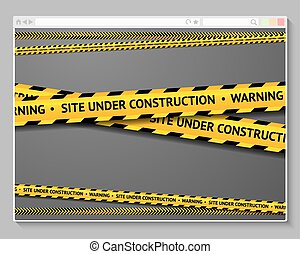 Caution tape in browser with words