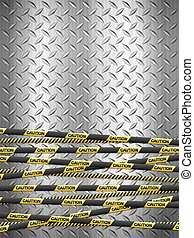 Caution tape on metal background