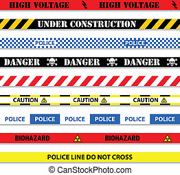 caution tapes seamless isolated on white