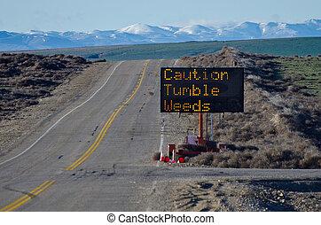 Caution Tumbleweeds Road Sign