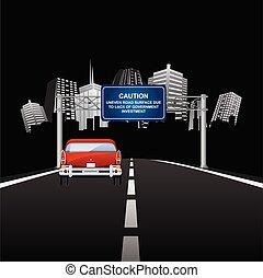 Caution uneven road surface