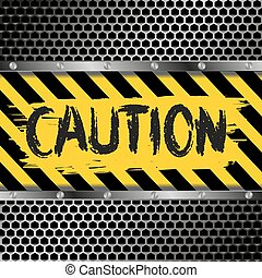 caution - background with yellow and black caution signs