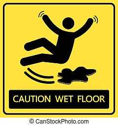 caution wet floor sign and symbol vector