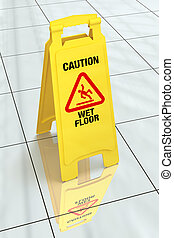 """""""Caution - Wet Floor"""" Sign - Bright yellow wet floor sign on..."""