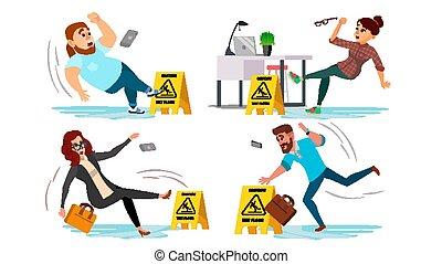 Caution Wet Floor Sign Vector. People Slips On Wet Floor. Situation In Office. Danger Sign. Clean Wet Floor. Isolated Flat Cartoon Character Illustration