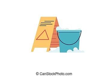 Caution Wet Floor warning sign and bucket