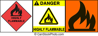 Caution/warning sign - Flammable signs series. Three...