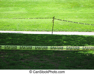 cautious keep out sign
