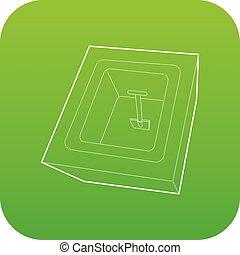 cavado, vector, verde, tumba, icono