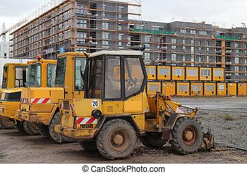 cavador, ligado, local construção
