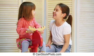 cavalcade, cheval jouet, enfants