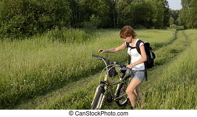 cavalcade, femme, vélo, jeune