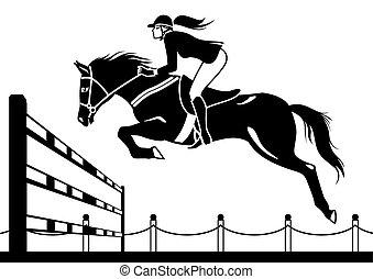 cavalcade, jockey, cheval