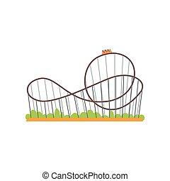 cavalcade, plat, vecteur, coloré, famille, piste, train., parc, extrême, aviateur, attraction., rollercoaster, affiche, conception, concept., bannière, ou, amusement, icône