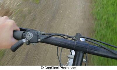 cavalcade, route, vélo, rural