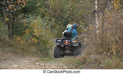 cavalcade, vélo, quad, couple