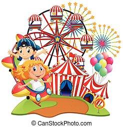 cavalcata, bambini, circo, scena