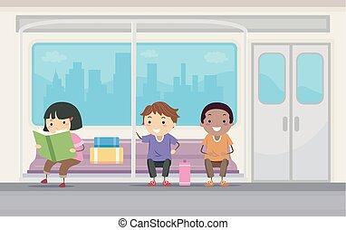 cavalcata, bambini, stickman, sottopassaggio, illustrazione