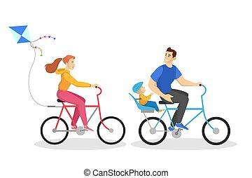 cavalcata, esercizio, bike., sano, famiglia, felice, attività, esterno