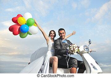 cavalcata, giusto, scooter, sposato, spiaggia bianca, coppia