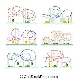 cavalcata, -, sottobicchiere, rullo, set, cartone animato, rotaia, parco, divertimento, rollercoaster, piste
