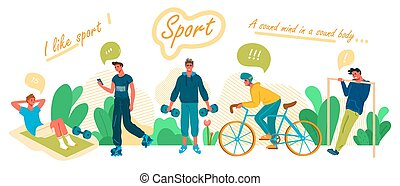 cavalcata, uomo, bicicletta, appartamento, cabrate, vettore, cartone animato, dumbells, illustration., press.