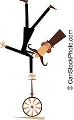 cavalcate, cima, illustrazione, unicycle, cappello, baffi, uomo