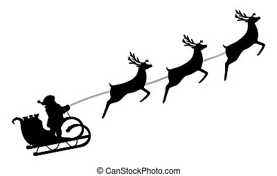cavalcate, claus, santa, renna, bardatura, sleigh