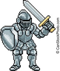 cavaleiro, arte, pixel