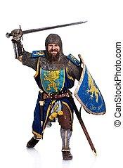 cavaleiro, ataque, position., medieval