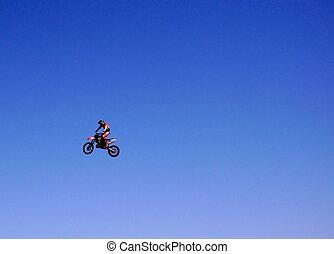 cavaleiro bicicleta, motor, ar