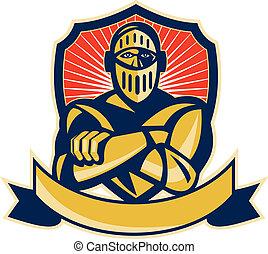 cavaleiro, braços cruzados, escudo