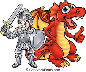 cavaleiro, caricatura, dragão