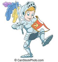 cavaleiro, caricatura, menino