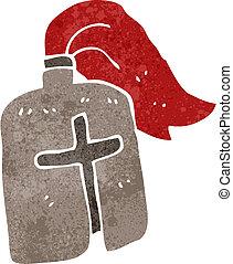 cavaleiro, caricatura, retro, medieval, capacete